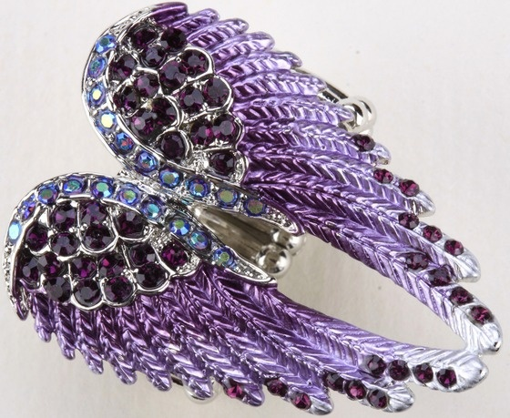 Purple Crystal Angel Wing Stretchy Ring JEWELRY - Free Shipping! $11.95