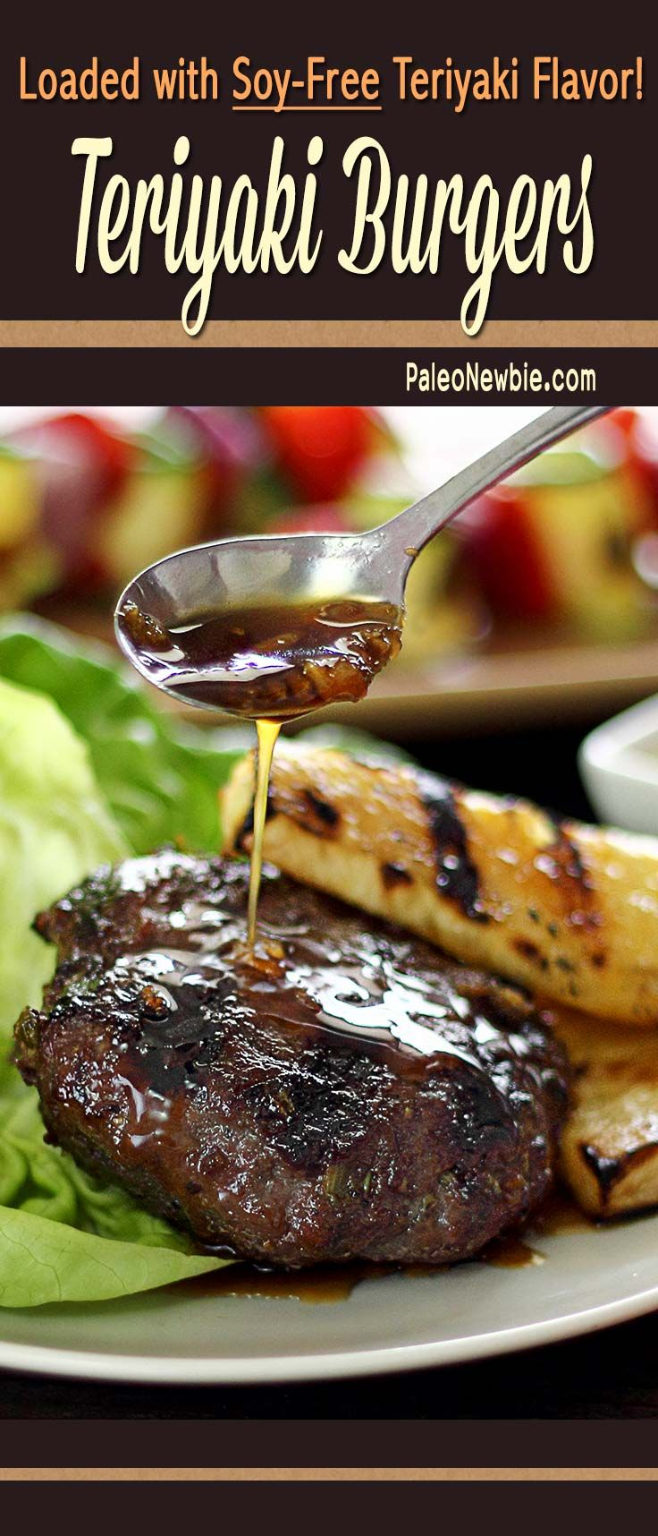 Simple and juicy grilled burgers – the secret is mixing the beef with a special soy-free teriyaki sauce you can make in minutes. Top them with extra sauce for even more flavor! #paleo #glutenfree