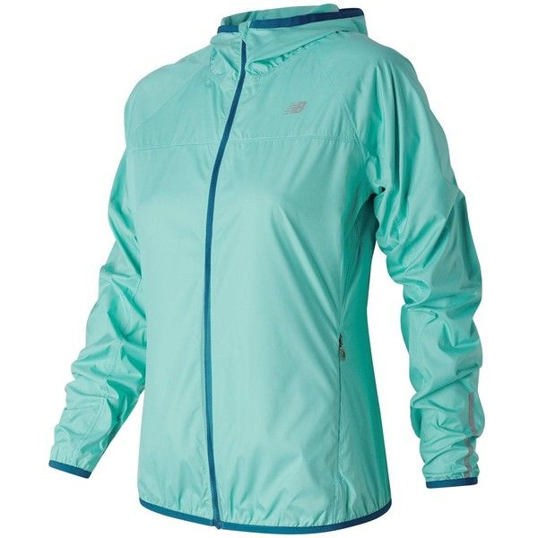 New Balance 53111 Women's Windcheater Jacket ($60) ❤ liked on Polyvore featuring outerwear, jackets, blue, wind breaker jacket, wind jacket, blue windbreaker, blue jackets and new balance jacket