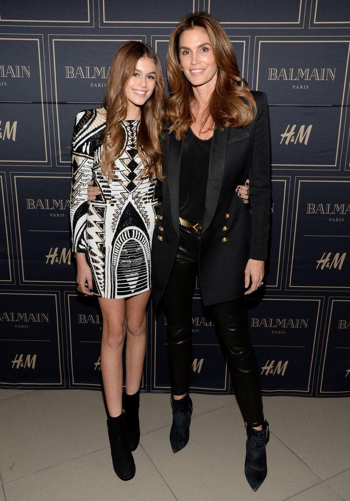 Kaia Jordan Gerber and model Cindy Crawford attend the Balmain x H&M Los Angeles VIP Pre-Launch on November 4, 2015