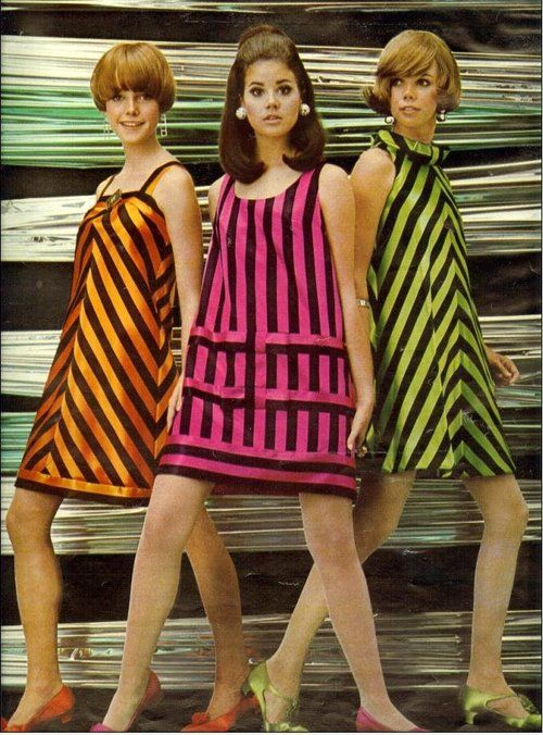 1967 sixties mod - Neon stripe A-line dresses in a variety of styles, matching shoes