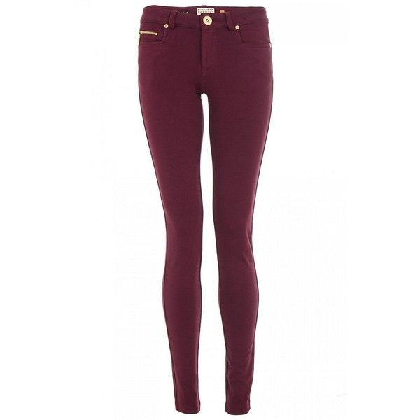 Wine Stretch Zip Jeggings ($28) ❤ liked on Polyvore featuring pants, leggings, bottoms, calças, jeans, women's trousers, zip leggings, stretch denim leggings, stretch pants and stretchy leggings