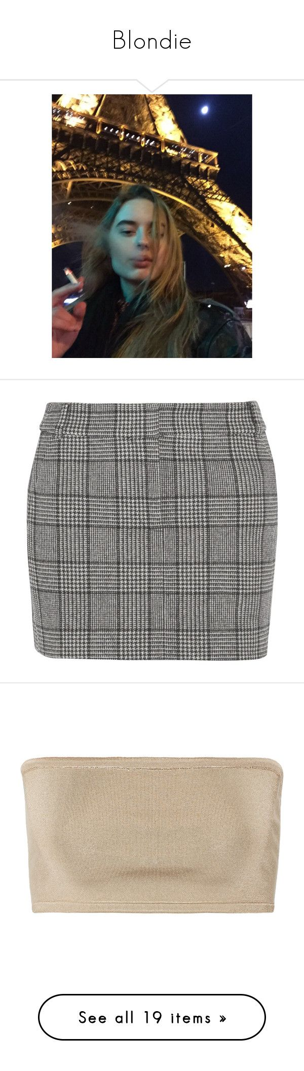 """Blondie"" by introsetum ❤ liked on Polyvore featuring skirts, mini skirts, bottoms, tibi, black, checkered skirt, print mini skirt, short tweed skirt, checked skirt and print skirt"