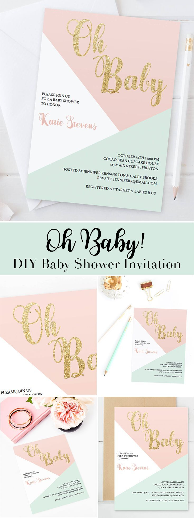Pink and Gold Baby Shower Invitation Template