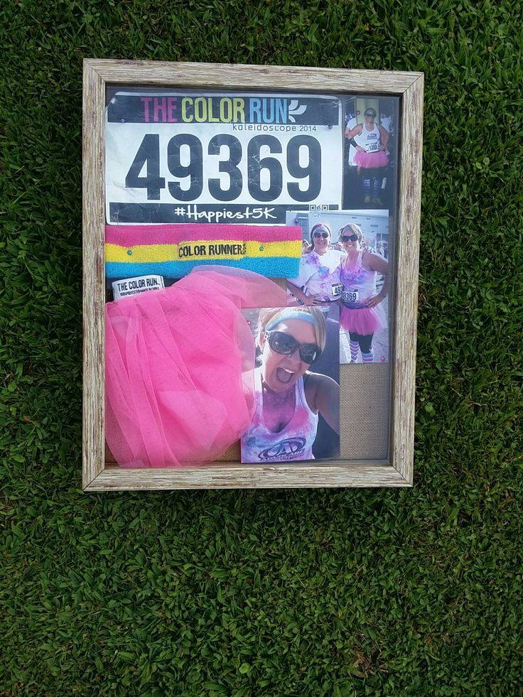 Color run shadow box. . Creative way to display your tutu and anything else you may have from The happiest 5k.
