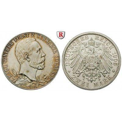 Deutsches Kaiserreich, Schwarzburg-Sondershausen, Karl Günther, 2 Mark 1905, Regierungsjubiläum, f.st, J. 169a: Karl Günther… #coins