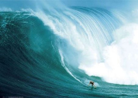 Laird Hamilton Rides a Wave at Peahi, Santa Monica  Riding Giants Poster, (can you believe that wave?!)