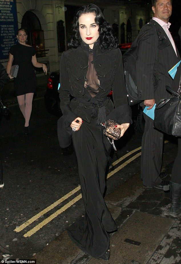 Vamp: Dita made an impact at shoe designer Christian Louboutin's after party as she stepped out in an all black ensemble