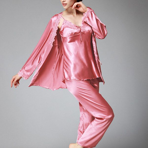 Silky Three Piece Comfy Sleepwear Suit   women fashion