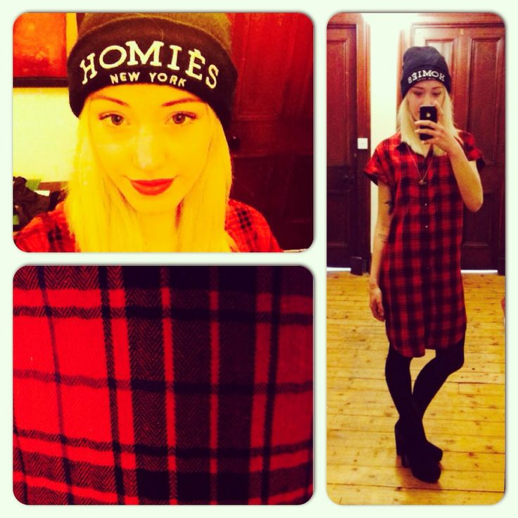 Beanie: Homiès at Urban Outfitters Dress: Noisy May at ASOS Boots: River Island http://daisymariaharvey.blogspot.co.uk/2014/03/ootd_25.html