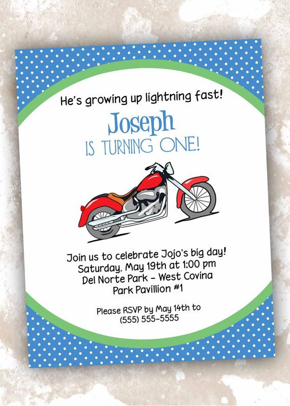 Printable Motorcycle Theme Birthday Invitations by DesignsByDVB, $12.00