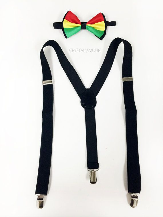 Rastafarian bowtie, mens suspenders and bowtie set, black suspenders, Jamaican wedding, Jamaican accessories