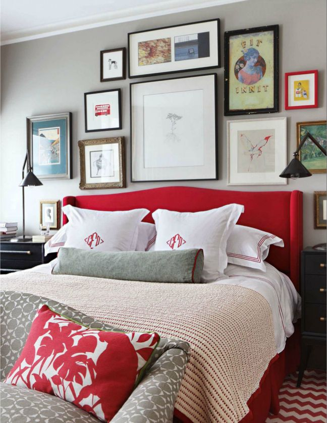 Master Bedroom Grey And Red Palette Home Deco Ideas Decor Gray