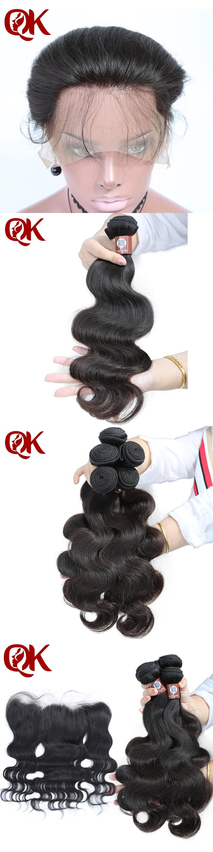QueenKing Human Hair Bundles With Closure Brazilian Body Wave Hair Weaves 3 Bundles and Lace Frontal 13x4 Pre-Plucked Hair Line