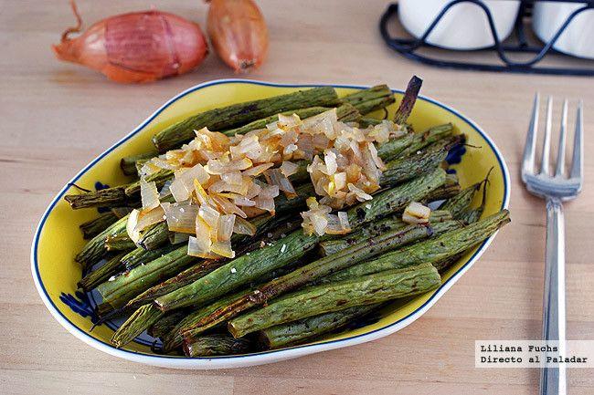 Receta de judías verdes asadas al vinagre balsámico. Con fotos del paso a paso, consejos y sugerencias de degustación. Recetas de guarniciones. Verduras