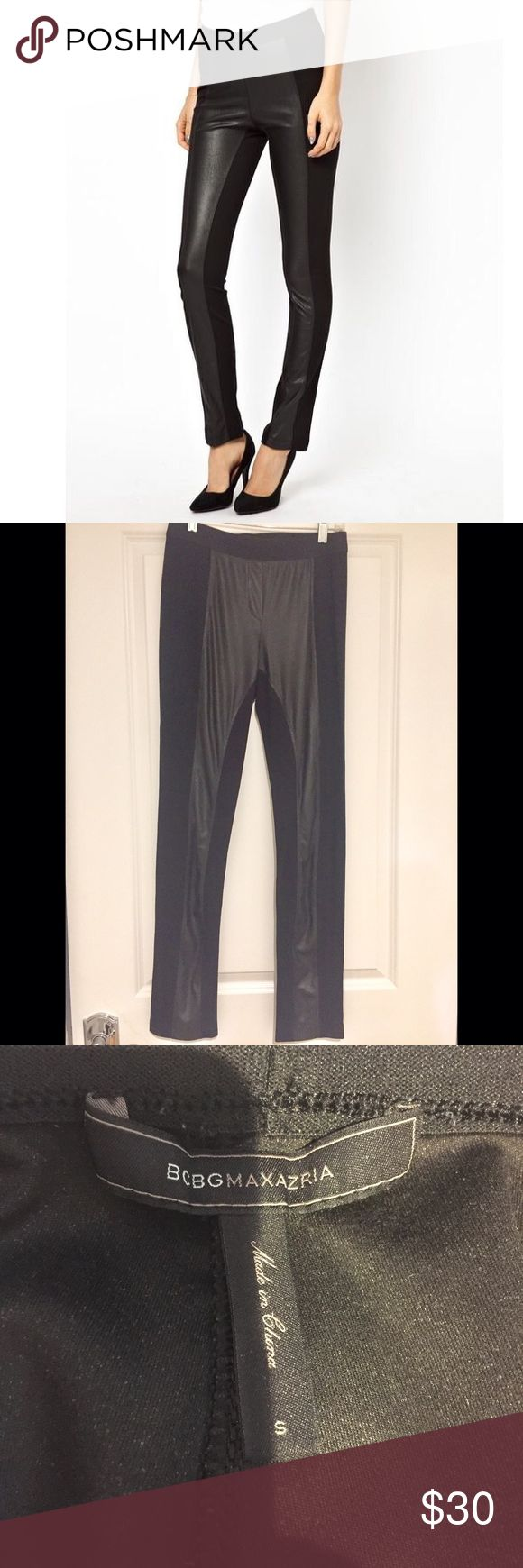 BCBG faux leather panel leggings BCBG faux leather panel leggings. Size small. BCBGMaxAzria Pants Leggings