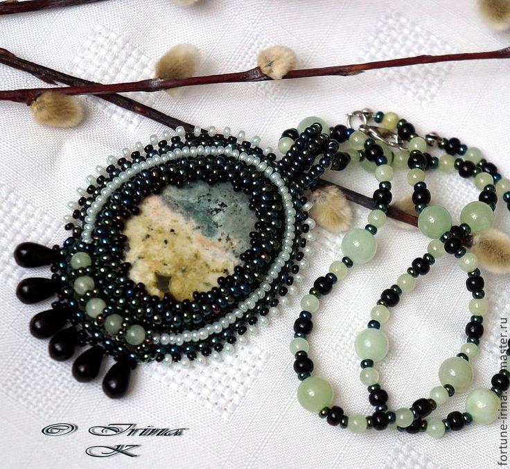 Купить Кулон с полевым шпатом Лесная прохлада - кулон с камнем, кулон натуральный камень