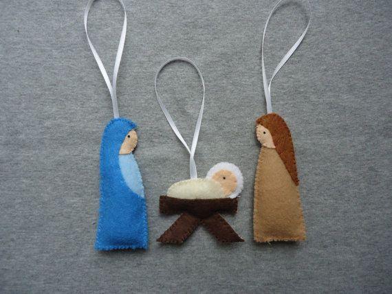 Nativité senti ornements avec Marie Joseph et par Tuscanycreative