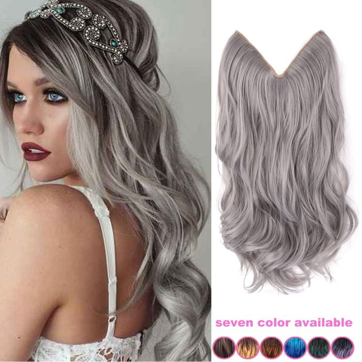 20'' inch grey silver hair no clip hair extension brazilian natural wave invisible synthetic hair extension flip in fantasy hair