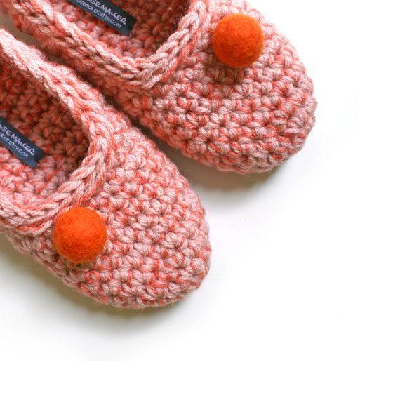 Crochet Slippers for Women House Shoes in by WhiteNoiseMaker, $29.00