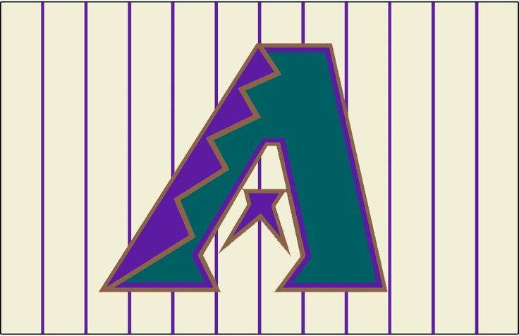 Arizona Diamondbacks Jersey Logo (1998) - Purple, turquoise and copper A on a cream-colored uniform with purple pinstripes, worn on the Arizona Diamondbacks home alternate vest jerseys from 1998-2006, and also the home jersey from 2001-2006