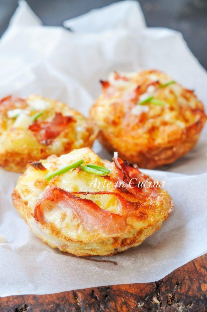 Tortini di albumi con patate e prosciutto ricetta leggera vickyart arte in cucina