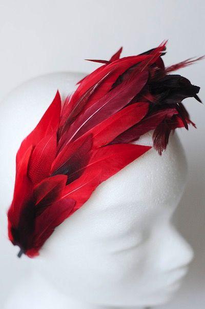 купить ободок с перьями на выпускной, ободок с красными перьями, украшение на…