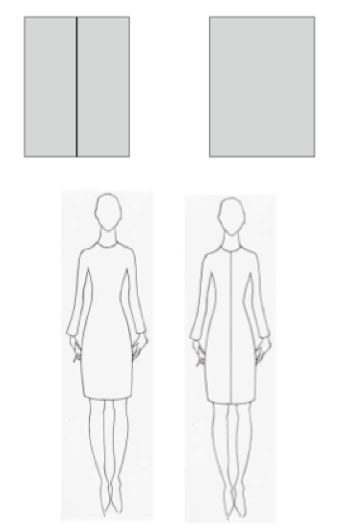 Vertical lines have a slimming effect on the body wherever you place them.  This is why vertical striped shirts, seams and creases down the leg your pants, for example, can make you look slimmer.  As you can see in the box illustration above, the box on the left looks slimmer, even though both boxes are exactly the same size.  If you look at the two dresses that are exactly the same dress, the dress on the right is slimmer looking as well.