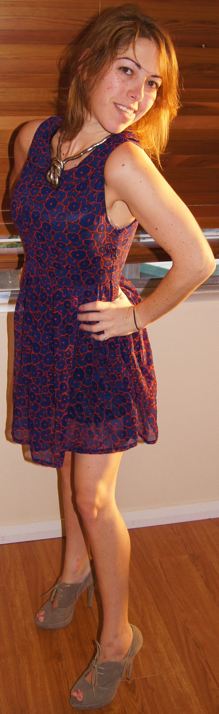 Day 33 - Today's onedaydress look: SageSydney (from CBD Westfield) blue/red Chrissy dress with Tony Bianco mushroom heels. Necklace from Bondi markets