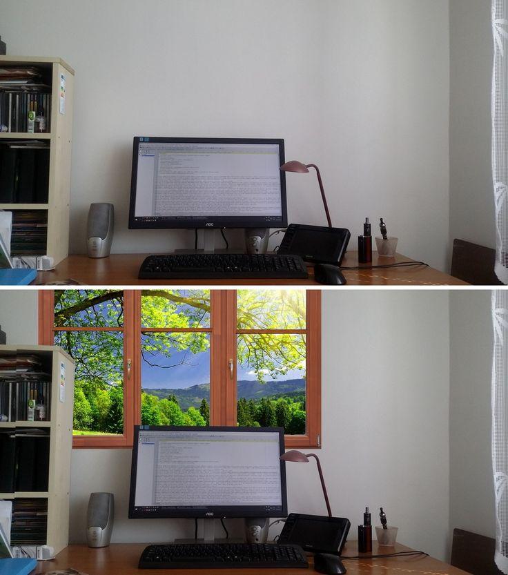 Co kdybych koupil normální okno, za něj dal fototapetu a vylepšil si pracoviště? Docela i nápad na podnikání, něco takového vyrábět a jen by se to pověsilo že?