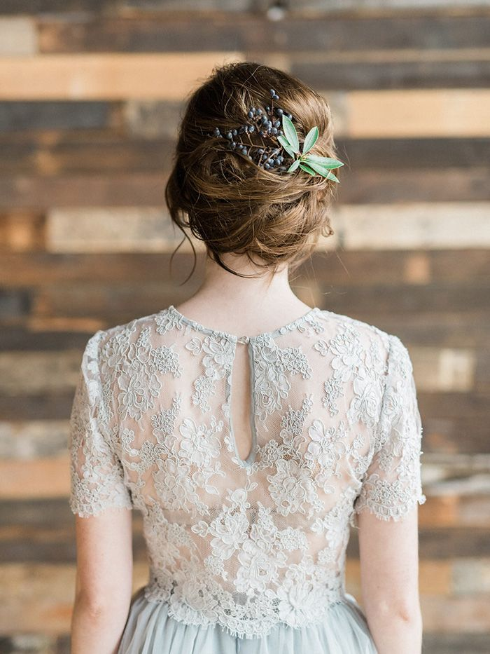 Bohemian Bridal Style with a Greenery Adorned Updo