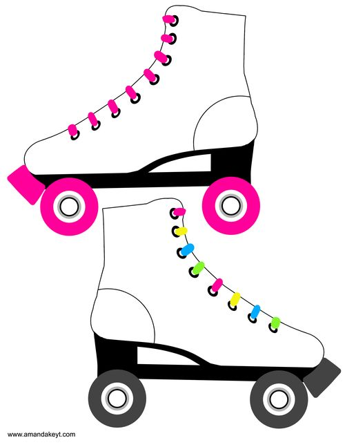 Instant Download Neon Roller Skate Printable Photo Booth Prop Set