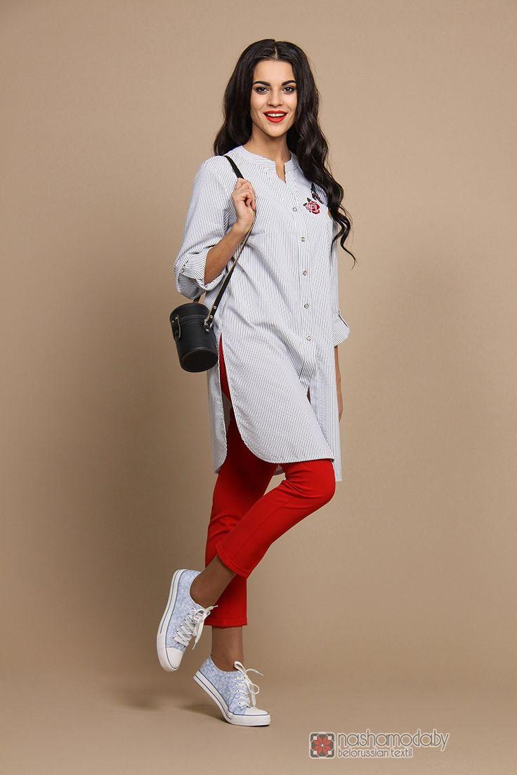 Брючный костюм /комплект ALANI COLLECTION 505 серая полоска/красный