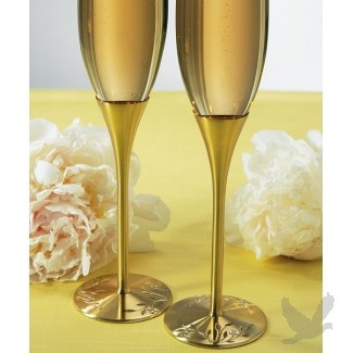 Serve Gold Medal Northern Ice Vidal Icewine in these Gold Wedding Toasting Flutes before your first kiss!