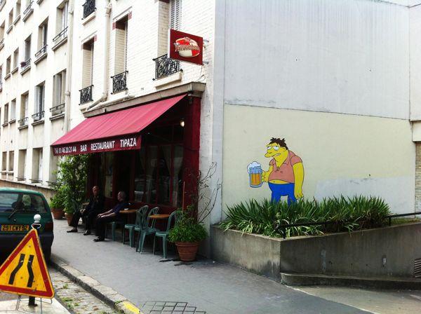 "Street art | Mural ""Barney Gumble, The Simpsons"" (Boulogne-Billancourt, Paris, France) by memeIRL"