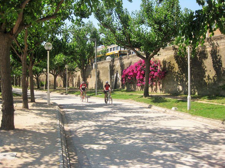 Cycling in Turia Gardens, Valencia. The Turia River was diverted from the centre of Valencia in the 1960s after heavy flooding. The resulting river basin was turned into a 12km long park, full of museums, sports facilites and large green spaces. http://www.cyclefiesta.com/multimedia/articles/things-to-do-valencia.htm