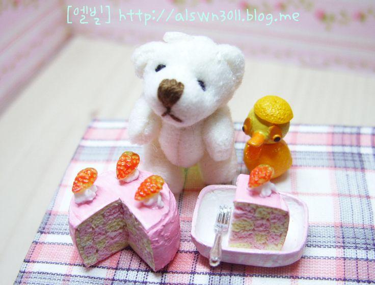 ●EllBill Miniature_Strawberry check cake ●Creator: EllBill (KimMinju) ●blog: alswn3011.blog.me/  ●E-mail: alswn3011@naver.com