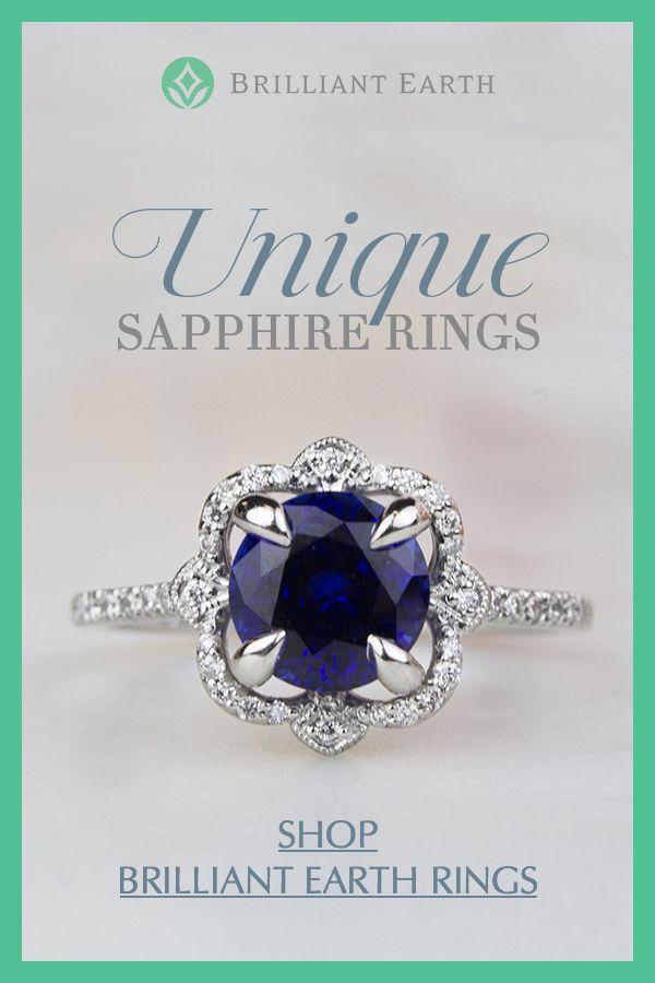 18K White Gold Sapphire Reina Diamond Ring in 2019  78c4e0108a8