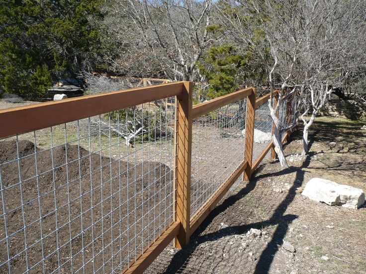 Wire and wood post fence - cityfencesa.com