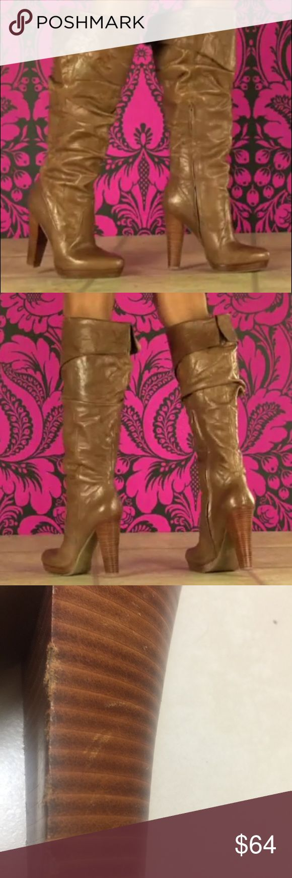 On Trend Knee Boots for the Fall Season These knee boots offer a stitched light brown leather with a slightly pointed toe. The boot features a side zipper and top fold detail. A 4 ½ inch heel and ¾ inch platform complete this style. Imperfection of nix on inner heel of one boot. Not noticeable (see pic).                                   Ships Same Day when Order is Received by 3pm EST M-F; 10am EST Saturday   No Trades, No Modeling Items  Serious Offers and Inquires Always Welcomed  Jessica…