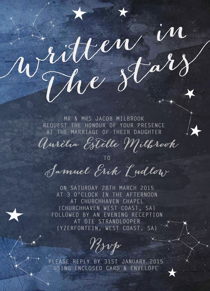 Constellation Stars Midnight Blue Wedding by HipHipHoorayStudio