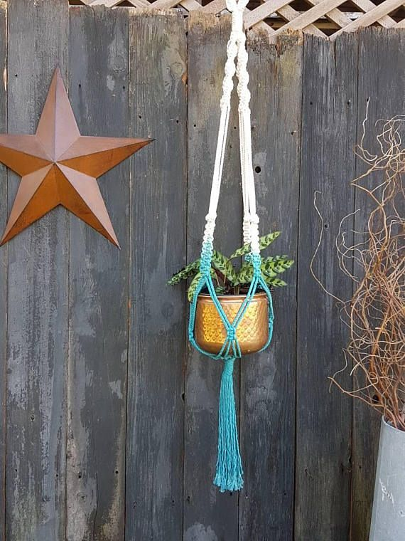 Check out this item in my Etsy shop https://www.etsy.com/ca/listing/541416513/teal-dip-dyed-macrame-plant-hanger