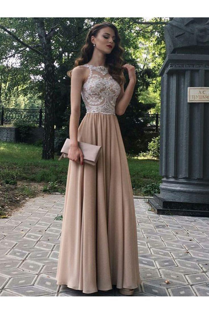 Une ligne perlée dentelle mousseline de soie longues robes de bal robes de soirée 601269