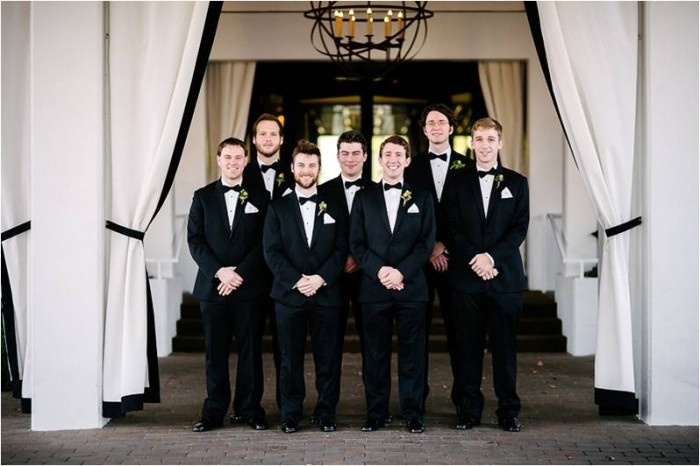 Groom and Groomsman Portrait | Navy Rustic Elegance Proximity Hotel Wedding | Julie Livingston Photography | Leigh Pearce Weddings, Greensboro North Carolina Wedding Planner, Stylist, Coordinator