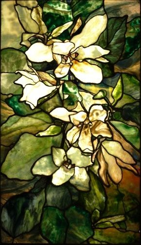 Magnolia Window by Louis Comfort Tiffany 1900. His stained glass window was purchased in Paris in 1901 for the collection of Baron Stieglitz, a close courtier of Tsar Nicholas II in St. Petersburg, and only recently has been exhibited in Russia. http://www.sanfranciscosentinel.com/?p=19503