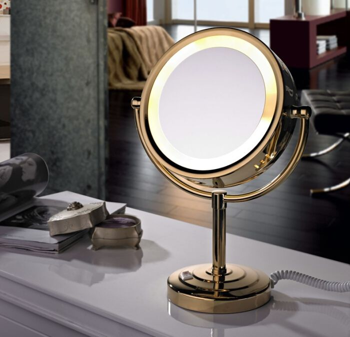 Free shipping Led Cosmetic Mirror with Light 1/3X brass Battery Makeup Mirror with Light Table Stand Mirror BM005-in Bath Mirrors from Home Improvement on Aliexpress.com | Alibaba Group