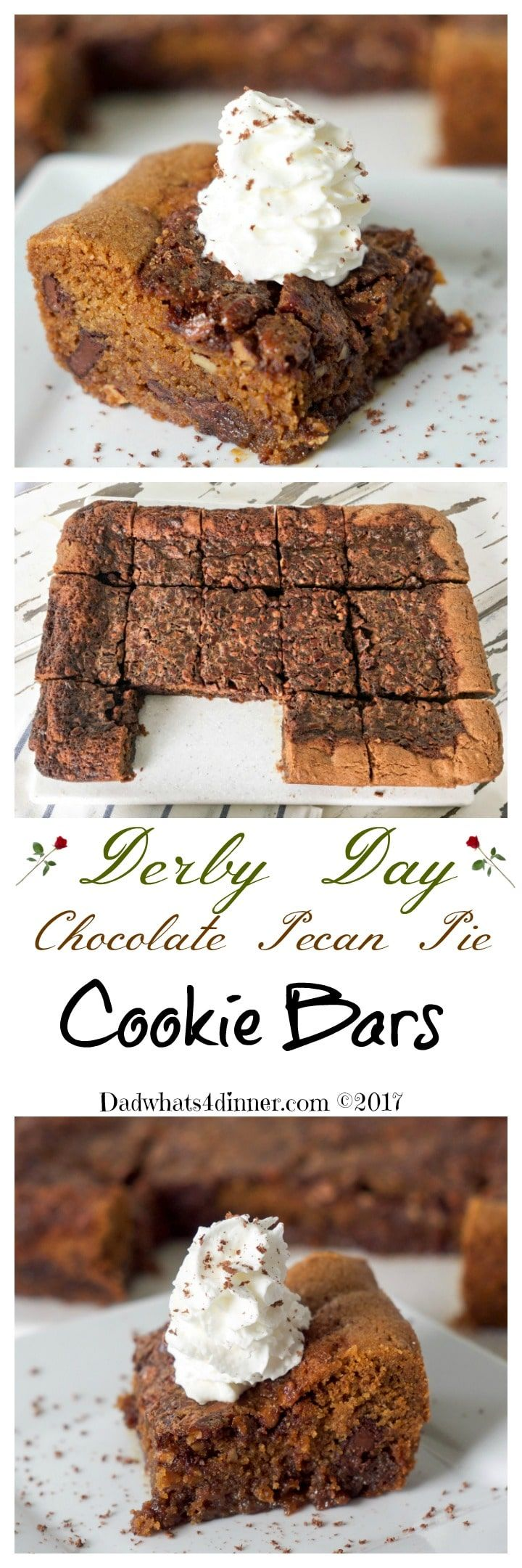 These luscious Derby Day Chocolate Pecan Pie Cookie Bars is the perfect bite size, easy to serve treat for your Derby Day party guests. #recipe #dessert #cookie bars #Derby #Pecan Pie www.dadwhats4dinner.com via @dadwhats4dinner