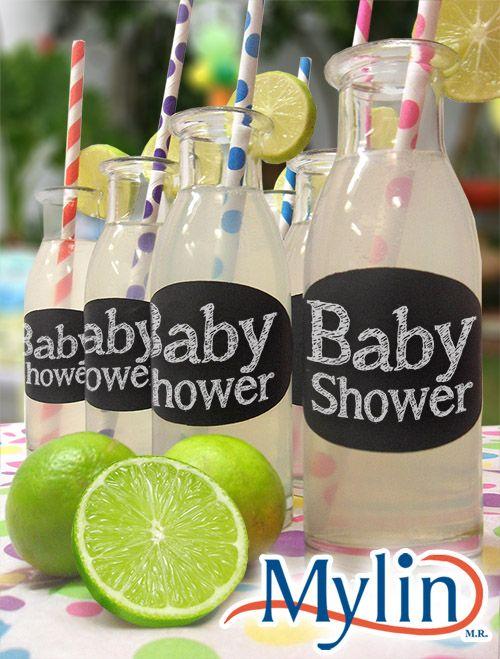 Frascos de vidrio para limonadas / Recuerdos para fiestas / limón / Verde / Etiquetas Negras de Pizarrón / Baby Shower