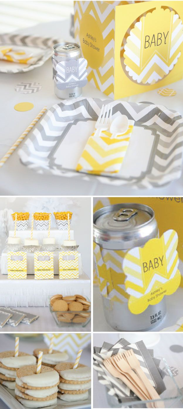 Bridal shower party supplies - Party Decoration Ideas With Gray And Yellow Chevron Party Supplies Perfect For A Baby Shower Birthday Party Or Bridal Shower