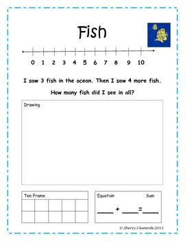 Addition word problems to solve with number line, drawing, ten frame, and equation